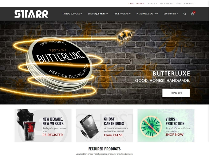 The STARR tattoo supplies ecommerce web design