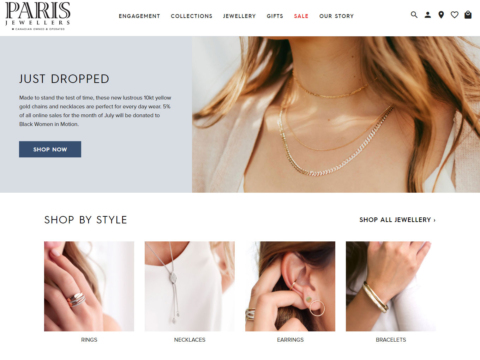 Landing page of the Paris Jewellers website design
