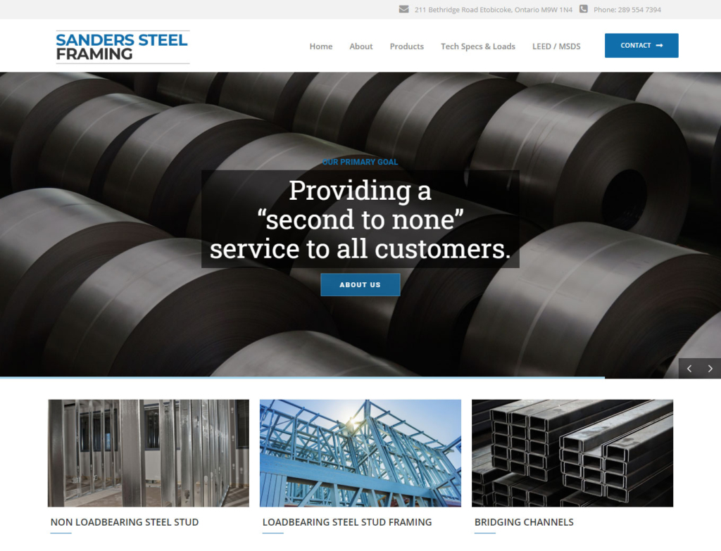 Coils of rolled steel shown on website home page