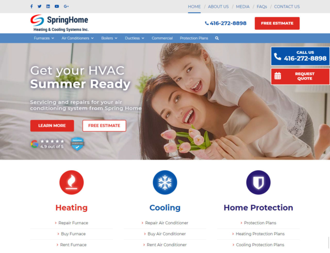 Home page of the SpringHome hvac company website design
