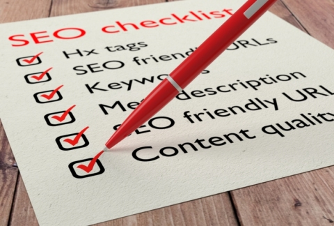 Checklist of SEO items being ticked off in red