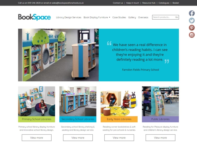 School library furniture shown on website home page