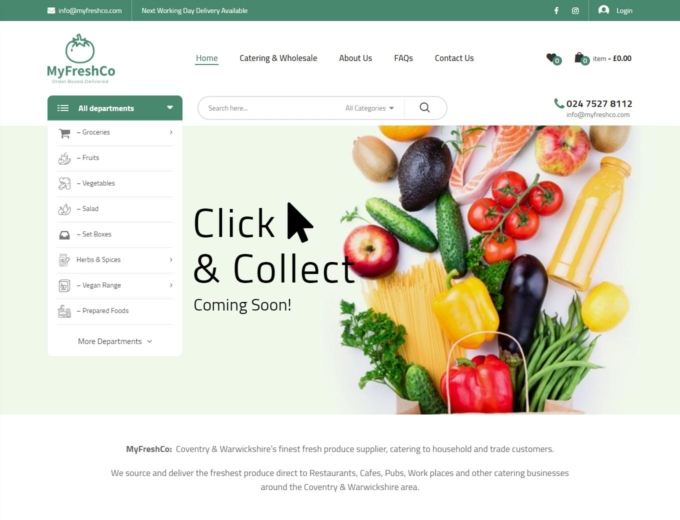 Fresh fruit and vegetables on the MyFreshCo website home page