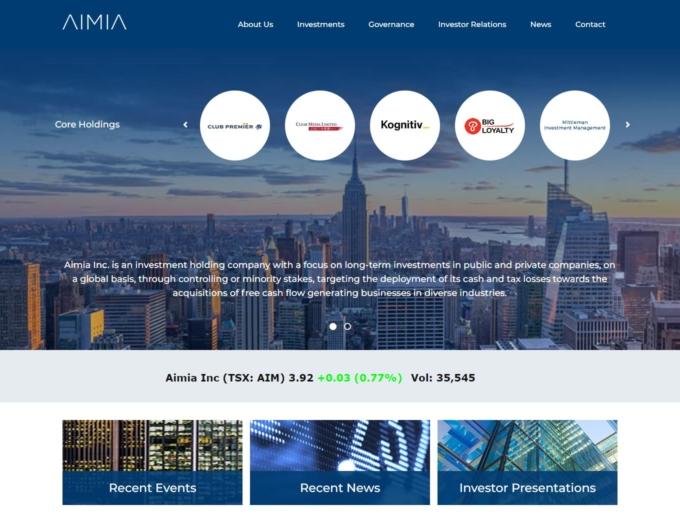 Home page of the AIMIA web design
