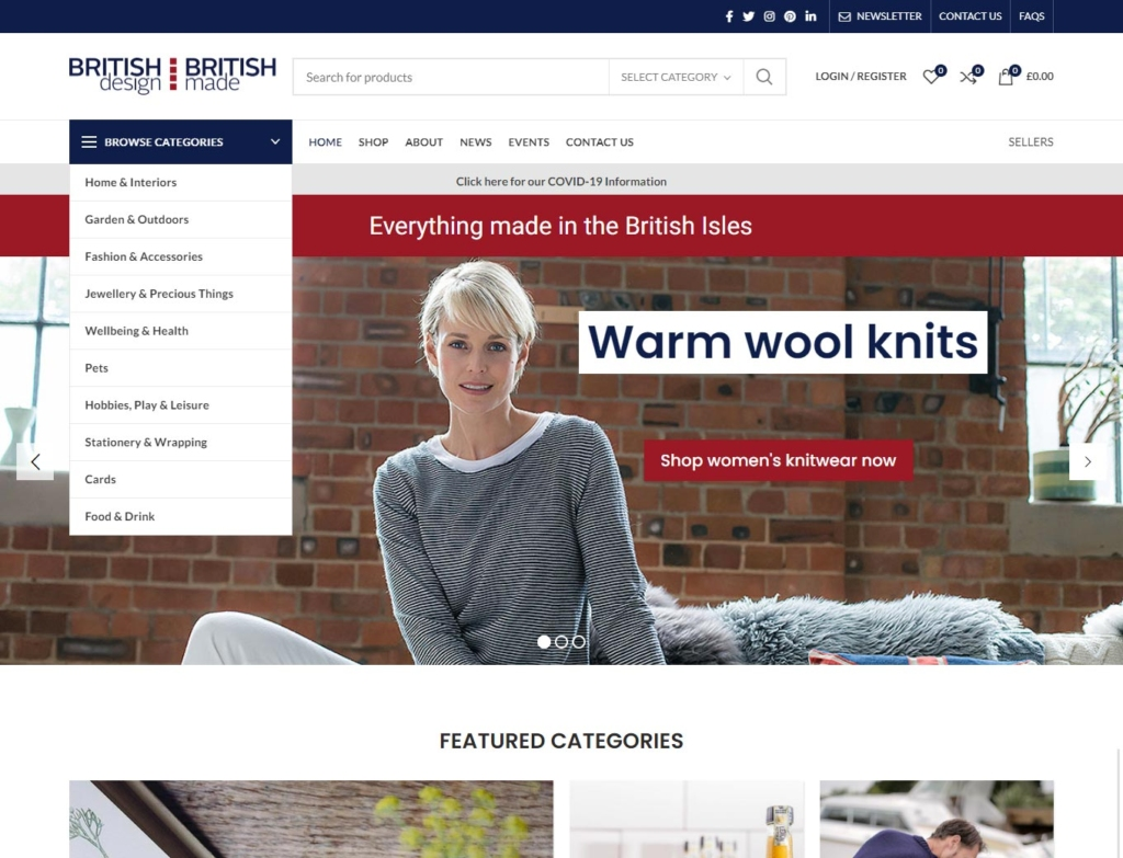 Warm wool knits features on this ecommerce website's home page
