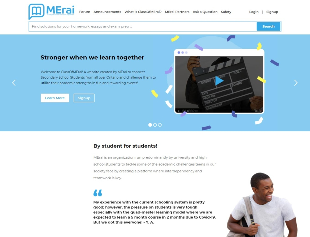 Landing page of the Class Of MErai education support website