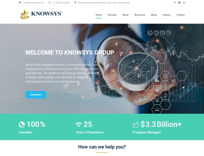 Home page of Knowsys Group website design