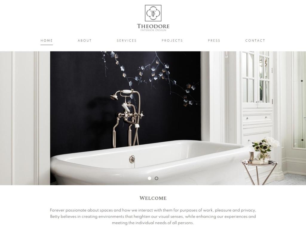 Luxury bathroom setting on website home page