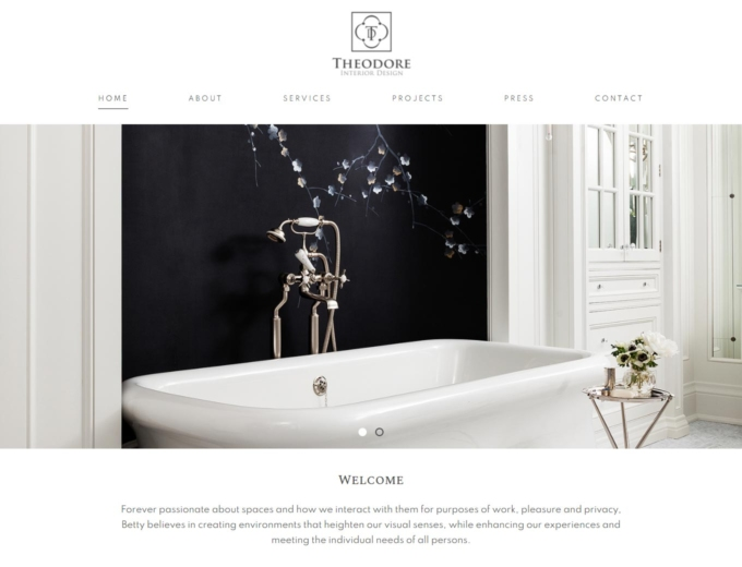 Luxury bathroom setting on website home page