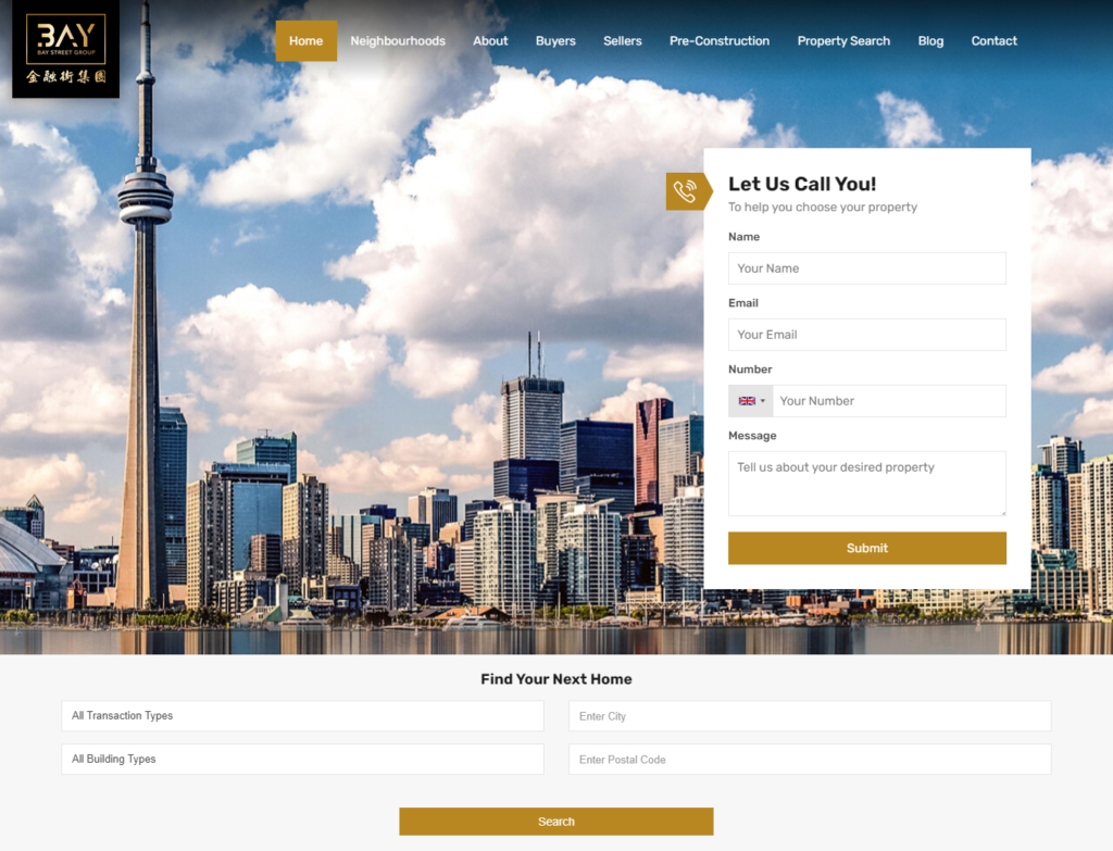 Toronto cityscape scene on realtor web design home page