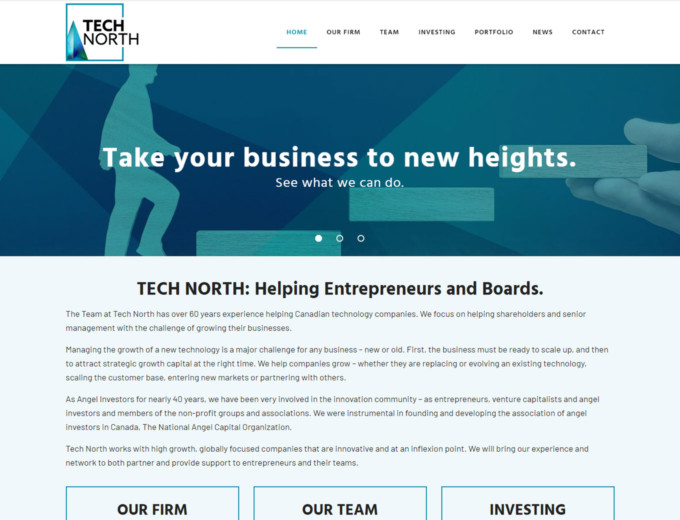 Landing page of Tech North website