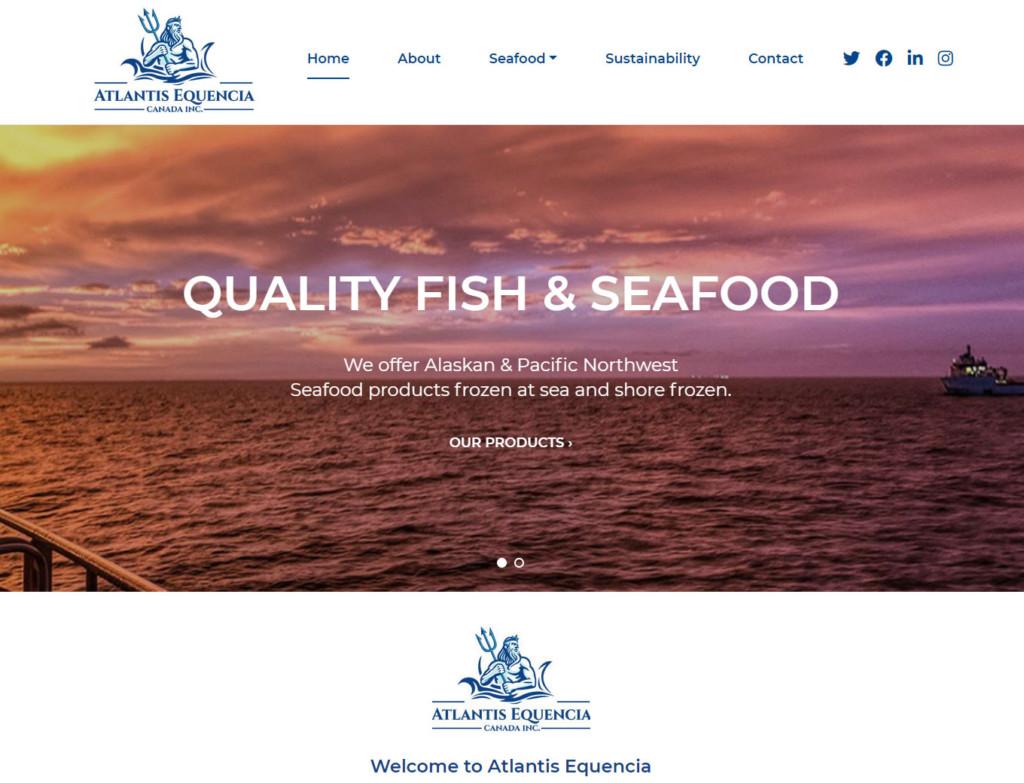 Home page of Atlantis Equencia web design