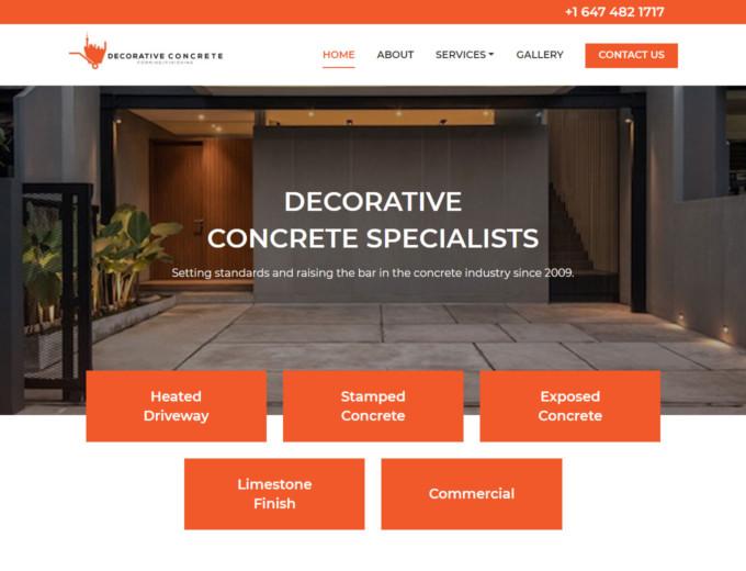 Home page of the Decorative Concrete website design