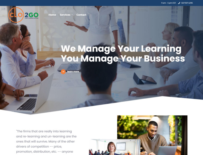 CLO2GO website design up close