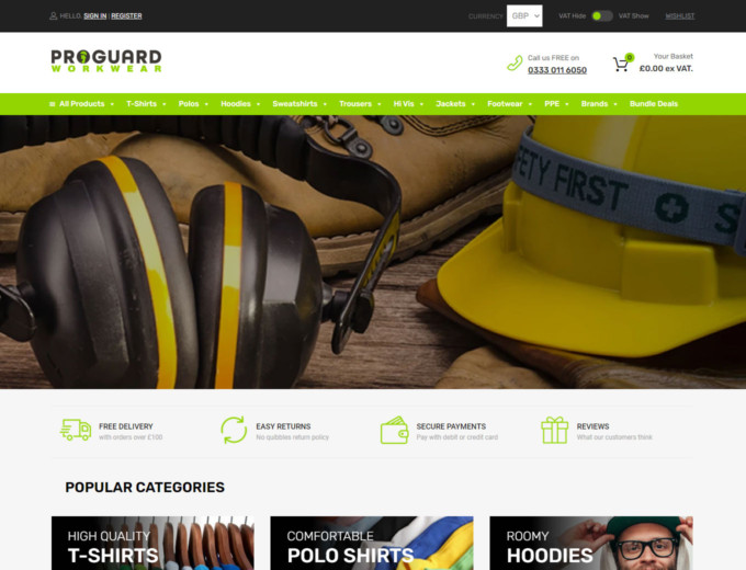 Safety helmet and headphones on website home page