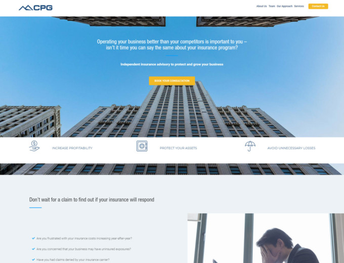 Landing page of CPG Insurance web design