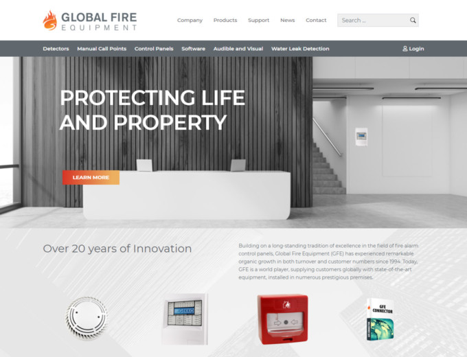 Home page of Global Fire Equipment website design