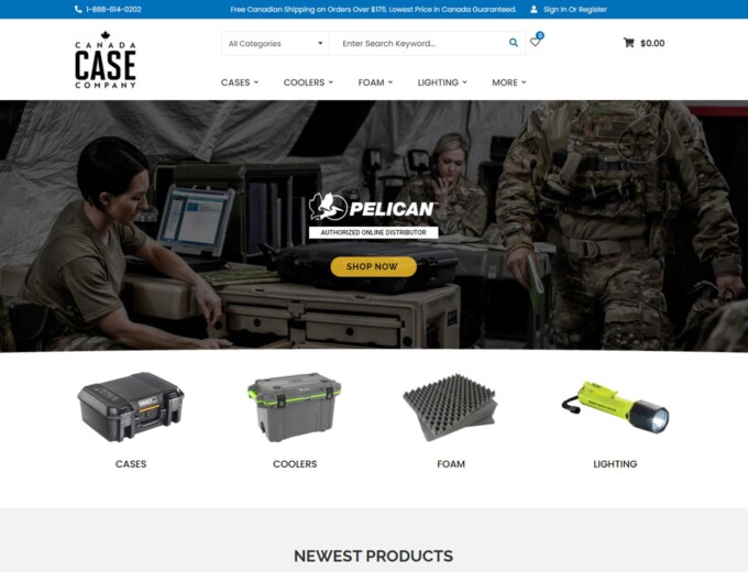 Cases and coolers feature on website home page