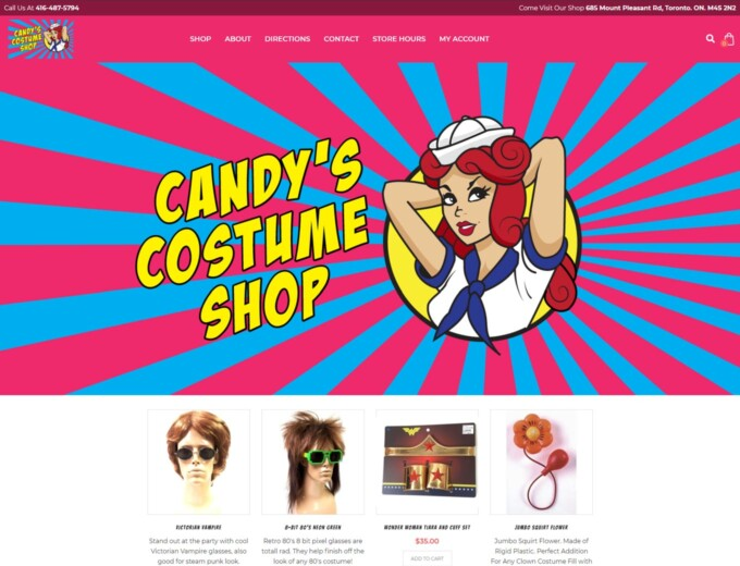 Home page of Candys website design