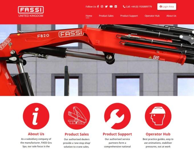 Crane on Fassi website design home page