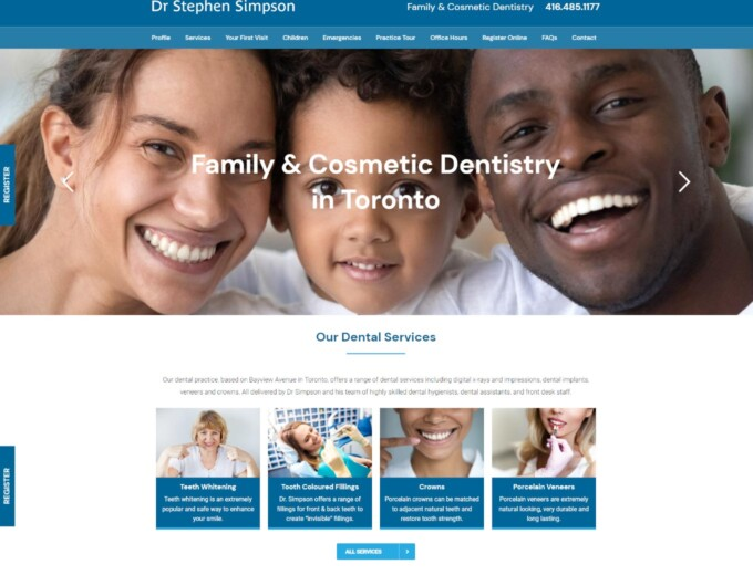 Landing page of Dr Simpson website