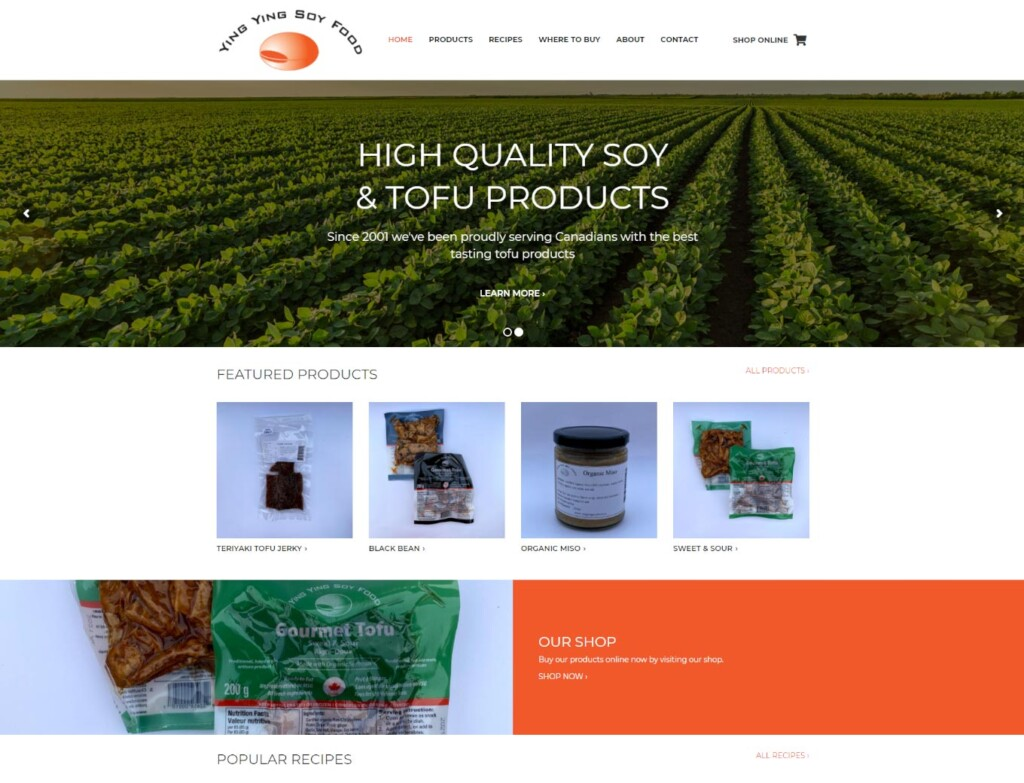 Home page of Ying Ying Soy Food website design