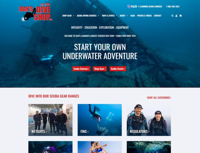 Home page of Dans Dive Shop