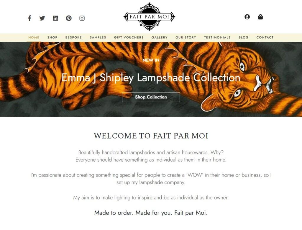 Tiger design on Fair Par Moi website home page